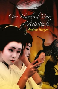 Cover of the novel 100 Years of Vicissitude, with two Japanese women in Geisha makeup and shadows of cranes in the background.