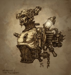 A humanoid robot with a zombie-like face and pipes coming out of its back.