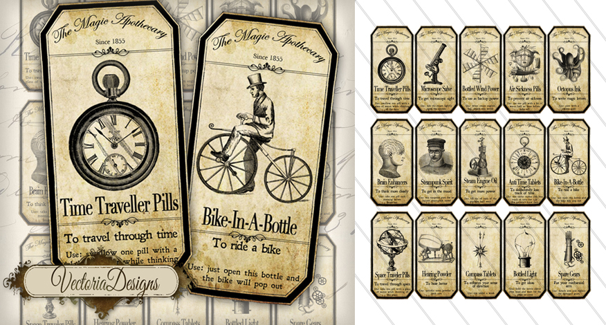 Steampunk Magazine ART Printable Steampunk Apothecary Labels - Mad scientist name tag template