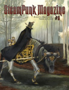 SPM Issue 9 cover: A cloaked, top hat wearing man riding a mechanical wildebeest.